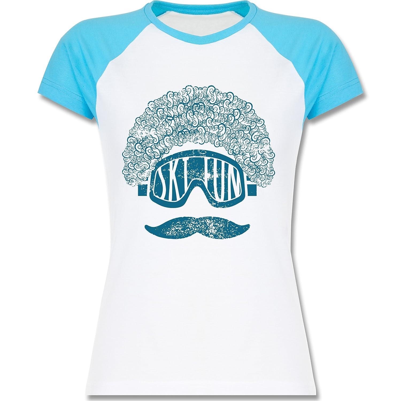 Après Ski - Ski Fun Moustache - zweifarbiges Baseballshirt / Raglan T-Shirt für Damen