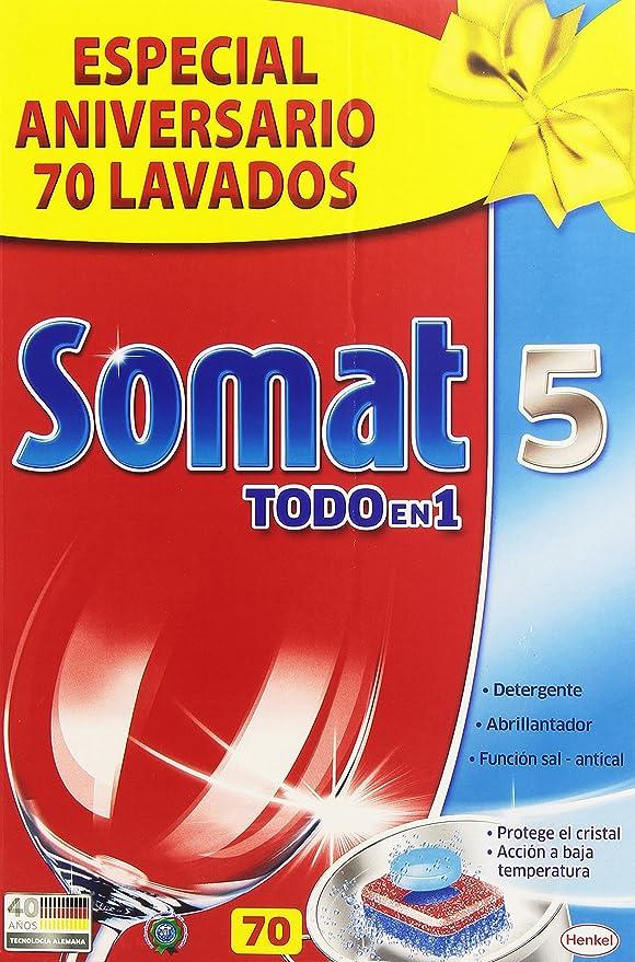 Somat - 5 Todo en 1 - Detergente, abrillantador y función sal ...