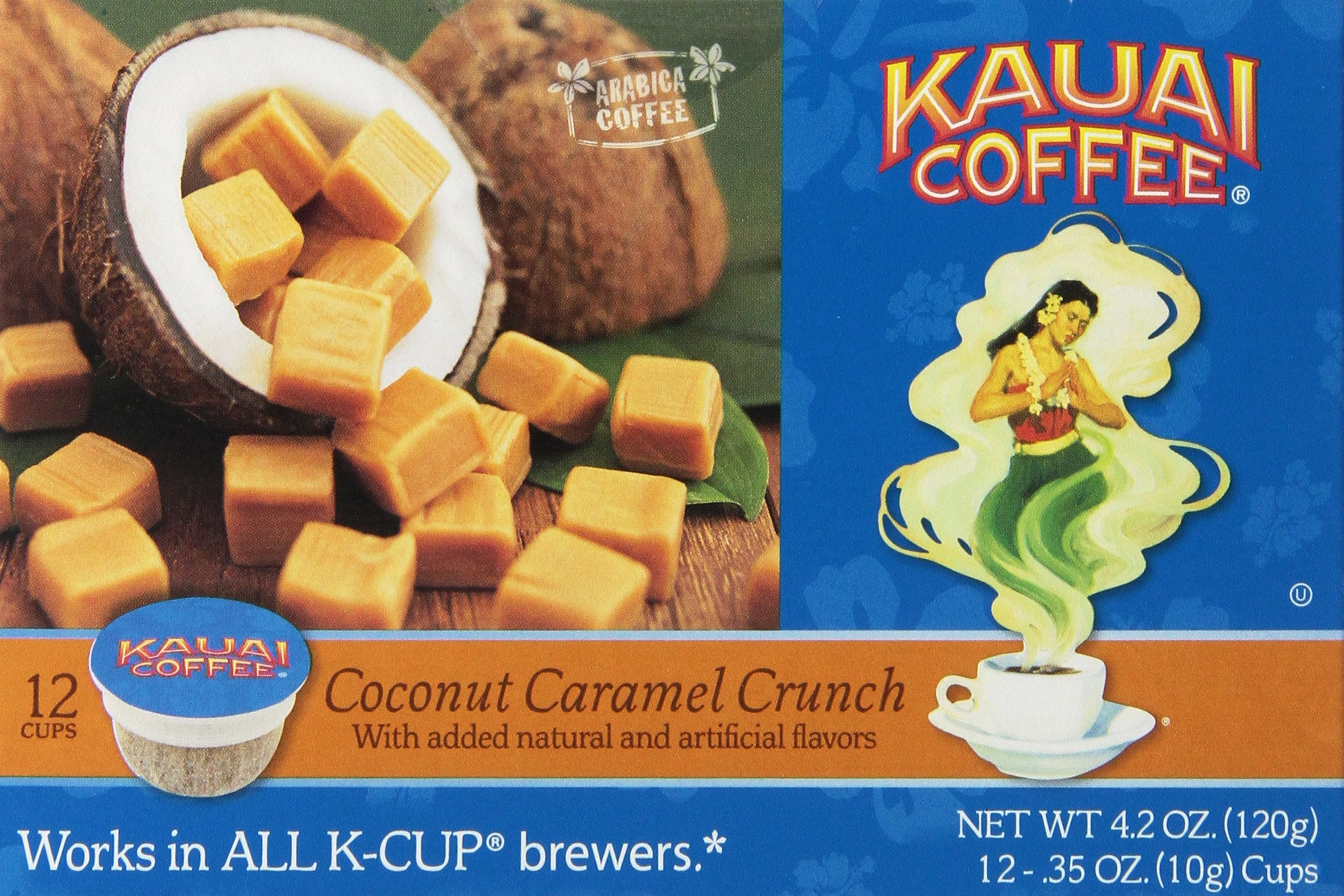 Kauai Coffee Coconut Caramel Crunch, Single Serve 12 Count by Kauai