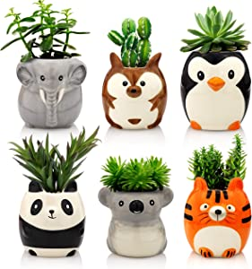Matty's Garden Animal Ceramic Succulent Planters Set of 6 | 2.5 Inch Small Cactus Pots with Drainage Hole Penguin Koala Panda Tiger Elephant Kangaroo (Small Set of 6 Safari Animals)