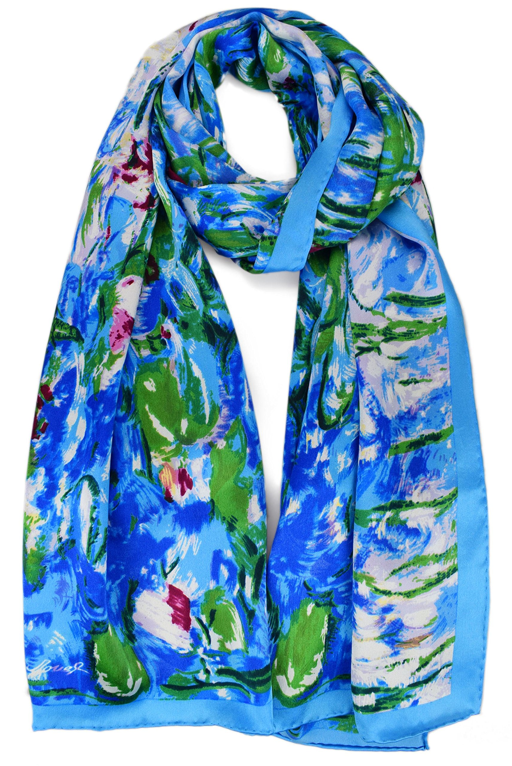 Luxurious 100% Charmeuse Silk Art Collection Long Scarf Shawl (Water Lilies)