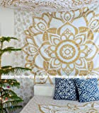 """""""New Launched"""" Popular Handicrafts Kp672 The Reverse Passion Gold Ombre Tapestry Indian Mandala Wall Art, Hippie Wall Hanging, Bohemian Bedspread 84""""x90""""(215x230cms)"""
