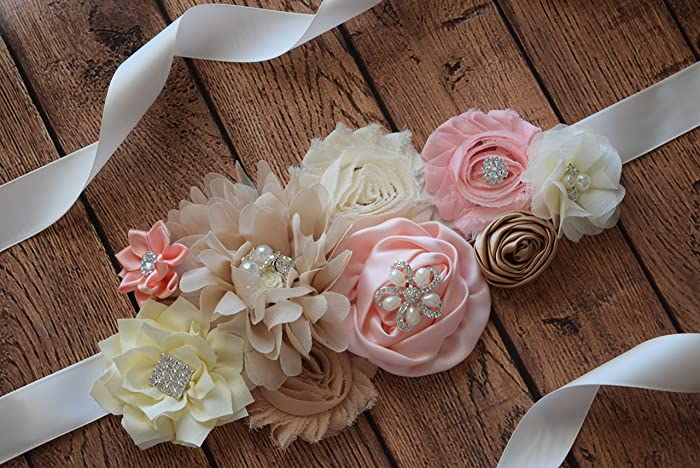 Amazon Com Sash Dream Coral Sash 2 Flower Sash Baby Shower Sash