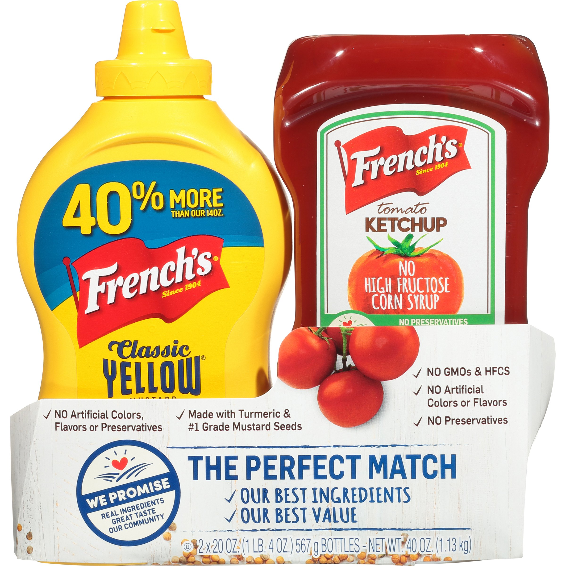 French's The Perfect Match Bundle Classic Yellow Mustard & Tomato Ketchup, 40 Ounce (Pack of 6)