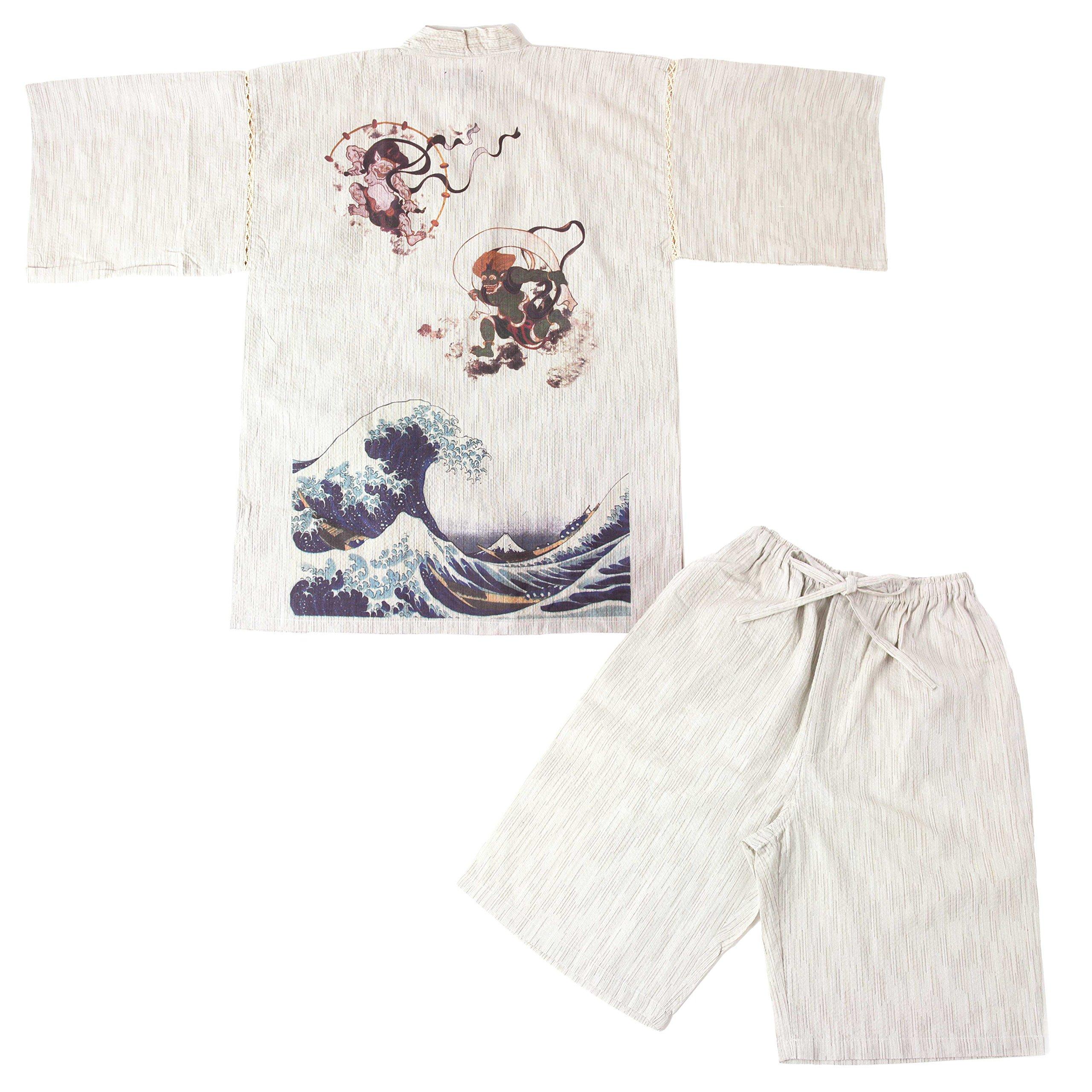 Edoten Men's Japan Kimono 704 Jinbei fujin raijin nami XL