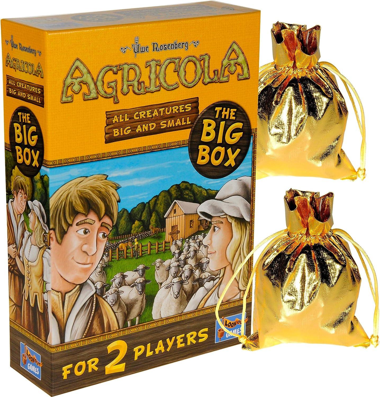 Agricola Game All Creatures Big & Small (Big Box) para 2 jugadores, solo    Bonus 2 bolsas de almacenamiento de tela metálica dorada con cordón, artículos incluidos: Amazon.es: Juguetes y juegos