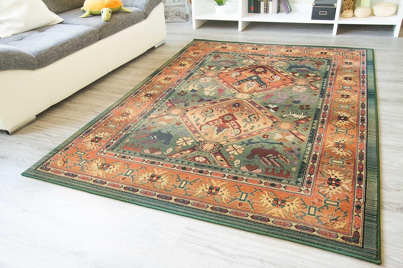 Moderner Orientteppich Gabolo Nomado Grün - Vintage Perser Teppich Muster - Öko-Tex, Größe  160x235 cm