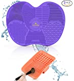 ExSoullent Makeup Brush Cleaner Mat, Set of 2 Silicone Portable Cosmetic Brush Cleaning Pads with Suction Cups & Hand Strap, Home Solution for Cleaner & Softer Brushes