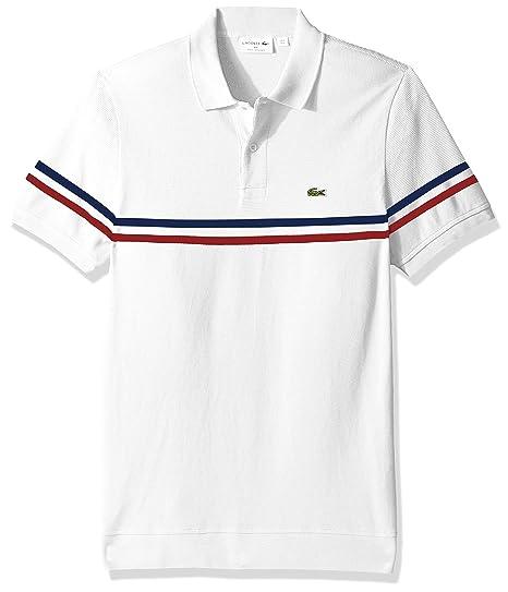 0d0b5248 Lacoste Men's S/S Mix Stitch 2 Striped Polo Regular Fit