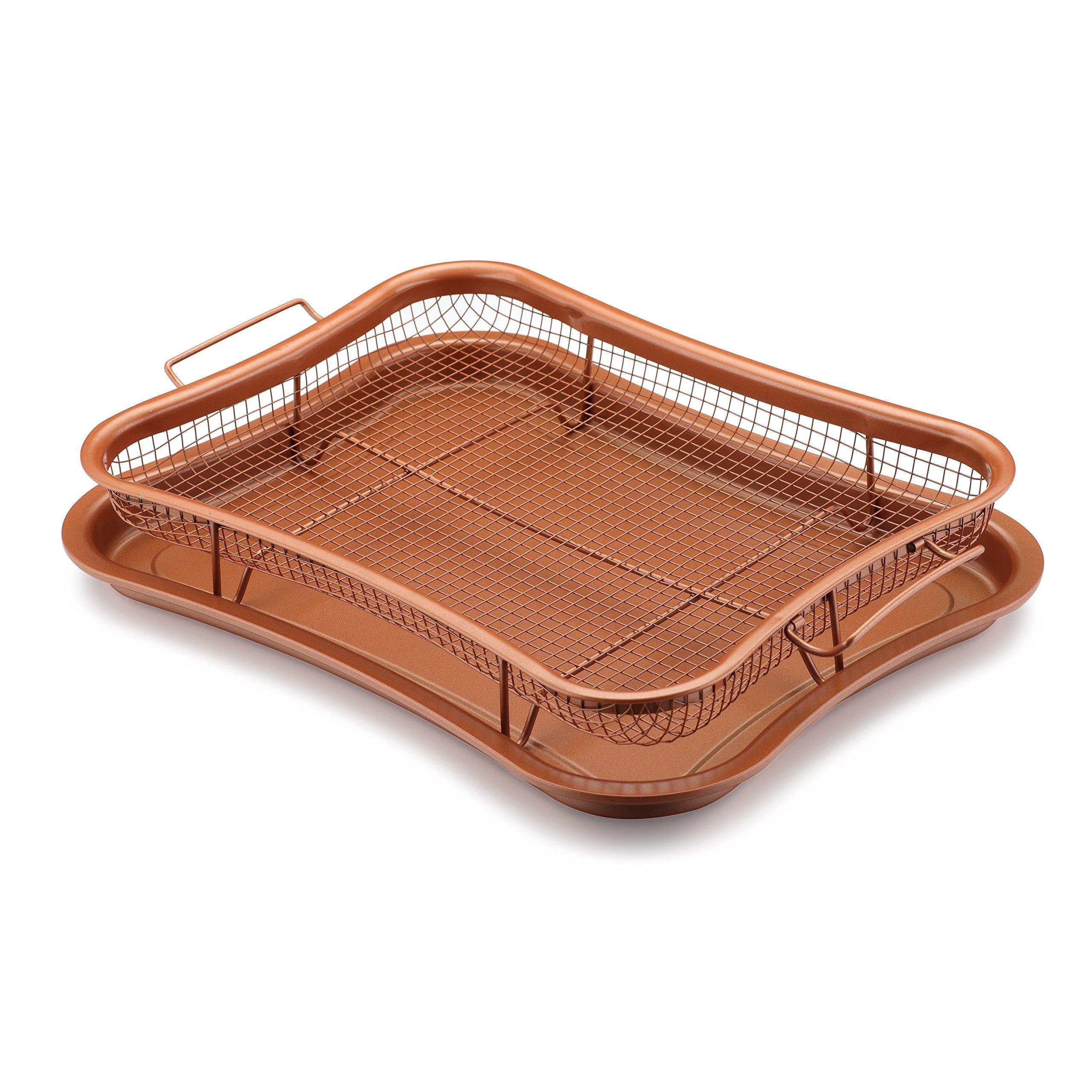 Gelinzon Copper Crisper Tray Oven Air Fryer Pan (Rhombus)