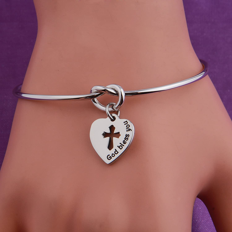 QIIER God Bless You Cross Bracelet Love Knot Bangle Bracelet Religious Jewelry Baptism Gift First Communion Gift