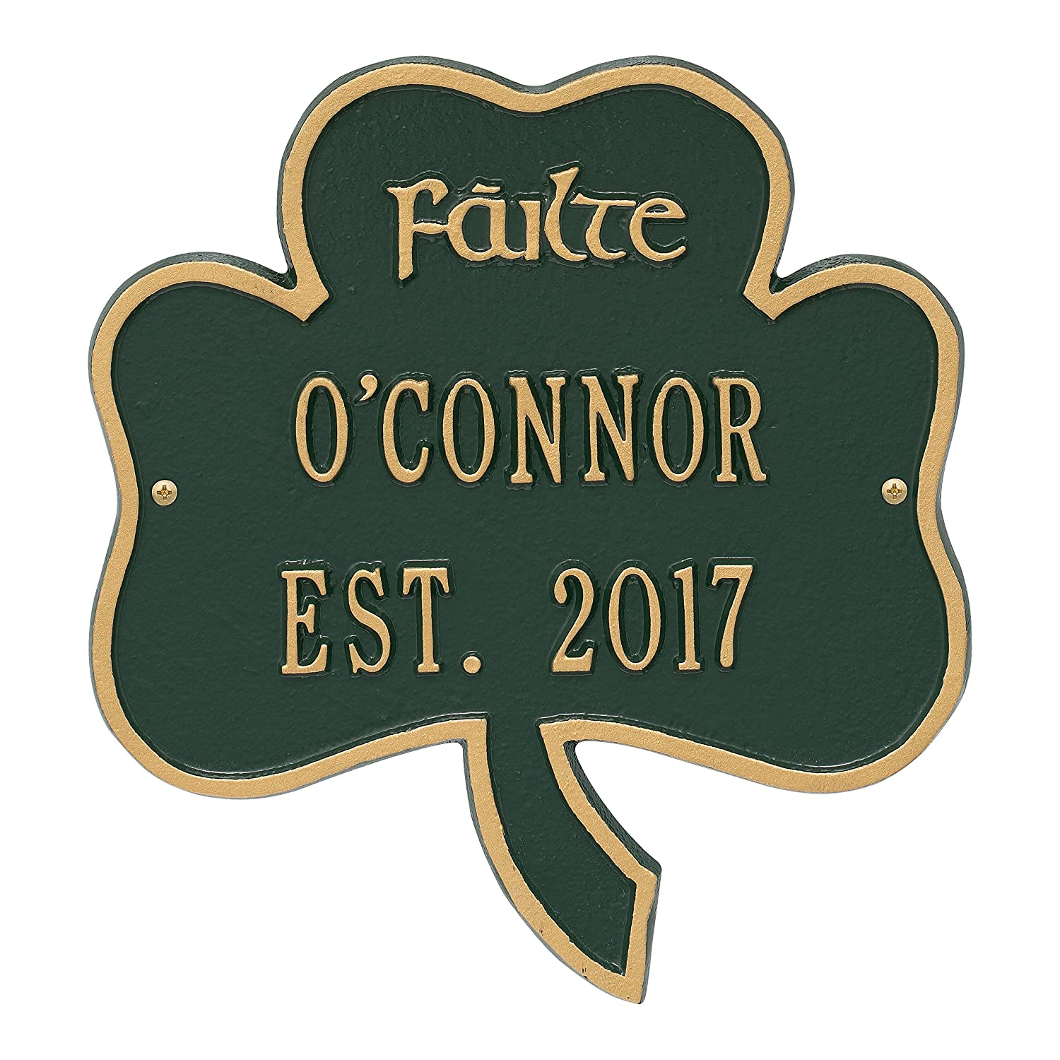 Personalized Indoor/Outdoor Irish Shamrock Name/Address Plaque Sign featuring the Gaelic Welcome Failte (Antique Copper) Whitehall Products