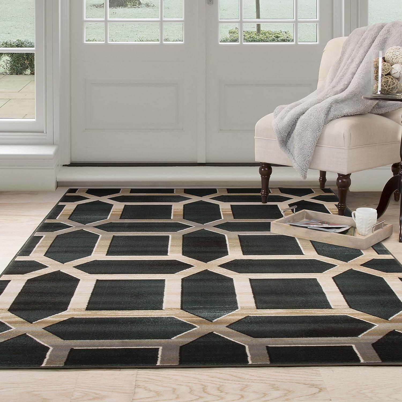 Amazon.com: Lavish Home Opus Art Deco Area Rug, 8 X 10u0027, Dark Teal: Kitchen  U0026 Dining