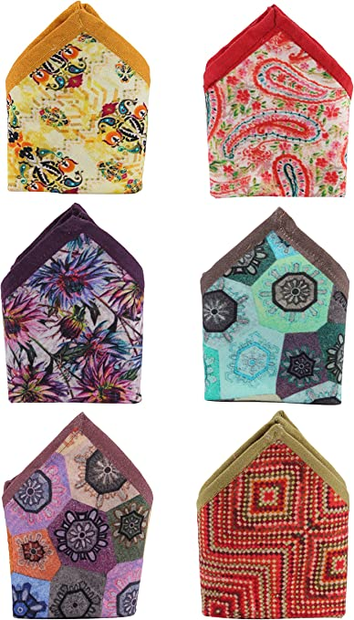 The Indian Craft 100/% Cotton Digitally Printed Pocket Squares Combo of 6 COMBO2