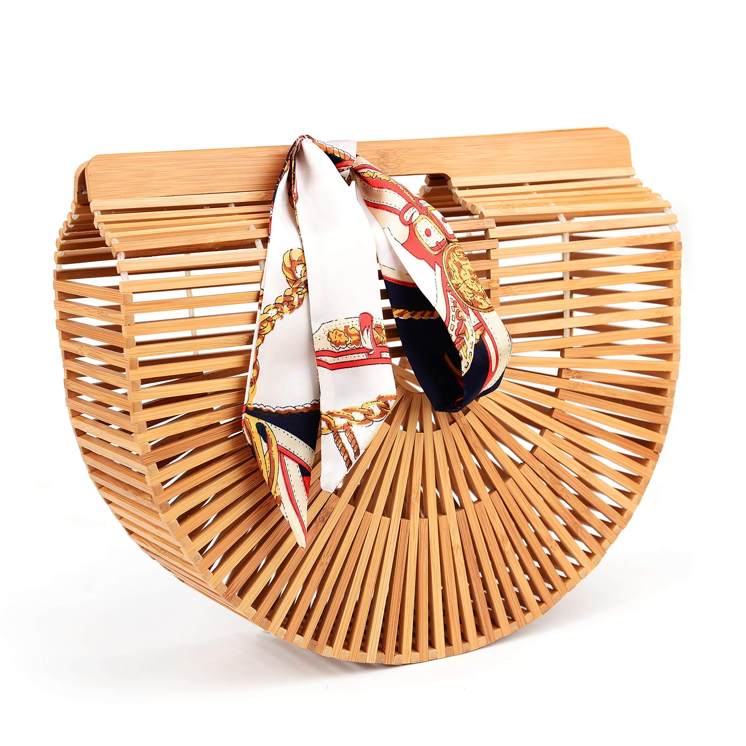 "Bamboo Handbag Handmade Tote Bag Handle Straw Beach Bag for Women By Samuel (12.59"" x 3.93"" x 10.63"")"