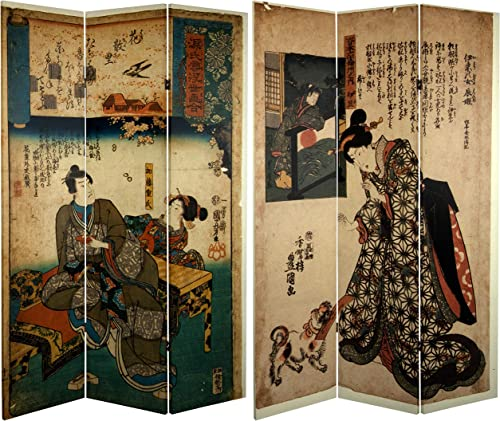 Oriental Furniture 6 ft. Tall Double Sided Japanese Figures Room Divider