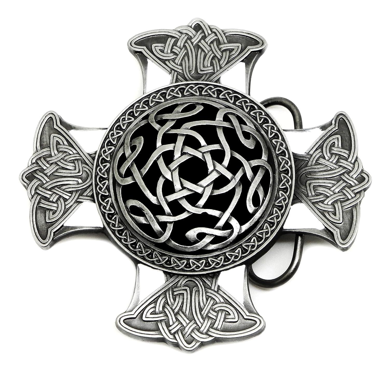 cb8fb9495c87 Noeud Celtique   Croix Boucle de Ceinture - Noir   Blanc - Authentique  Dragon Designs Produit de Marque DD 790