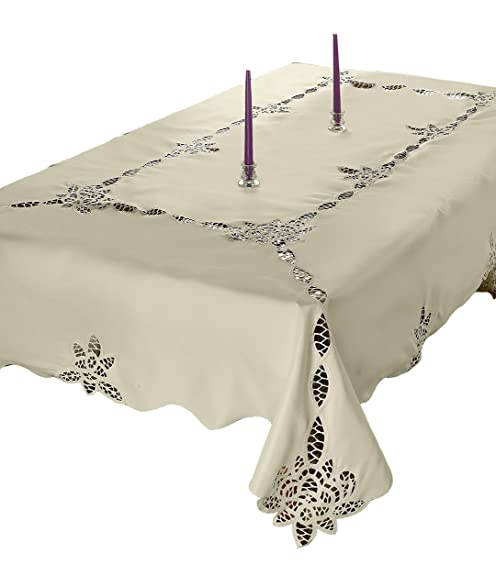 Violet Linen Betenburg Lace Design Oblong/Rectangle Tablecloth, 70u0026quot; X  120u0026quot;,