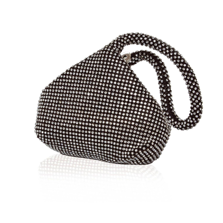 Julia Women's Evening Bag Sleek Black Wristlet Embellished Rhinestones Zipper
