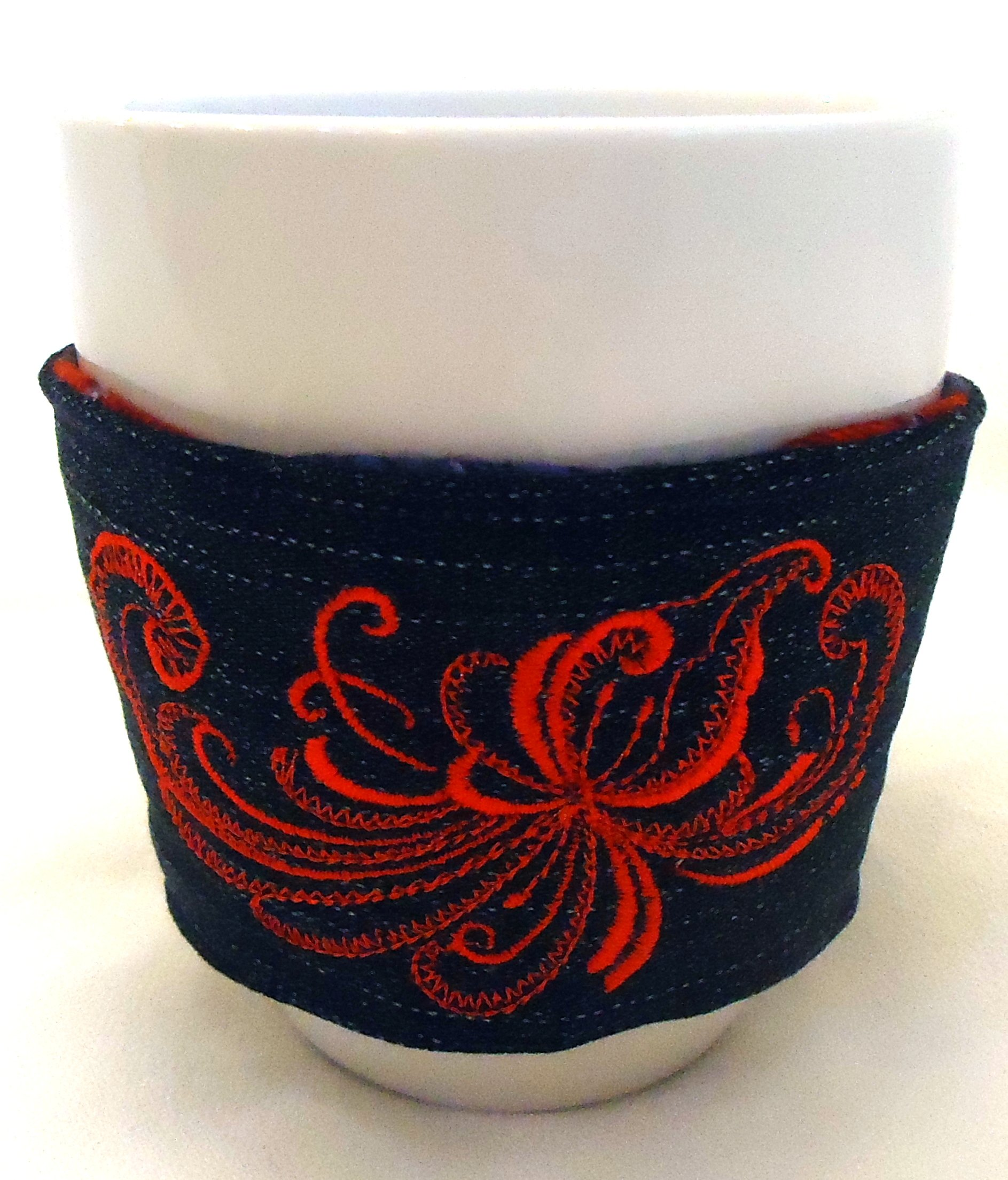 Integrity Designs Denim Scandinavian Rosemaling Embroidered Coffee Sleeve Tea Cup Cozy