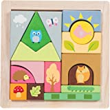 Le Toy Van - Wooden Educational Petilou Woodland Puzzle Blocks | Baby Sensory Montessori Toddler Learning Toy - Suitable for