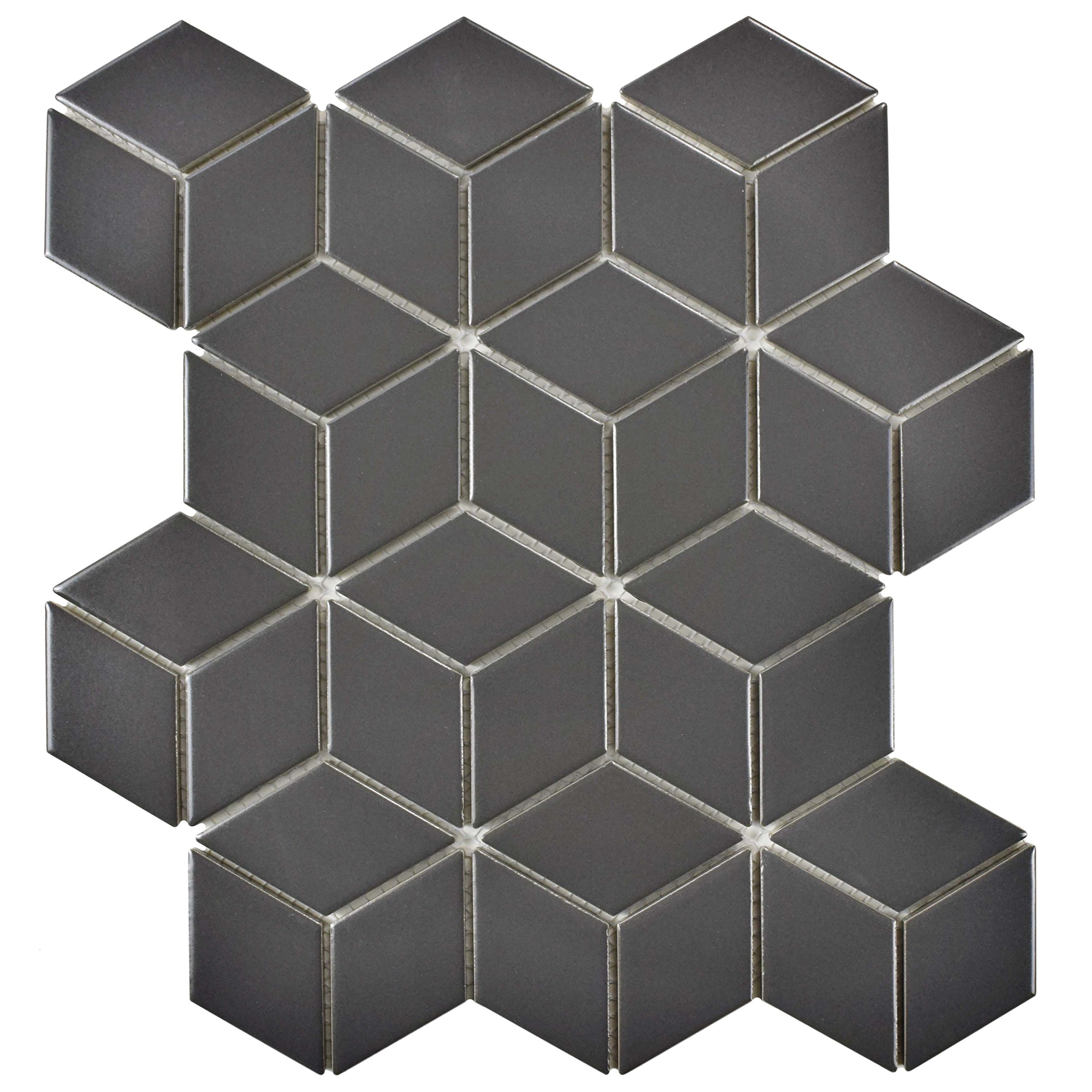 SomerTile FMTRHOMG Retro Rhombus Porcelain Mosaic Floor & Wall Tile, 10.5'' x 12.125'', Matte Grey by SOMERTILE