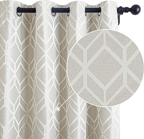 Topfinel Jacquard Room Darkening Curtains 96 Inches Long for Bedroom Living Room Trellis Design Grommet Sun Blocking Drapes, 2 Panels, Creamy Beige