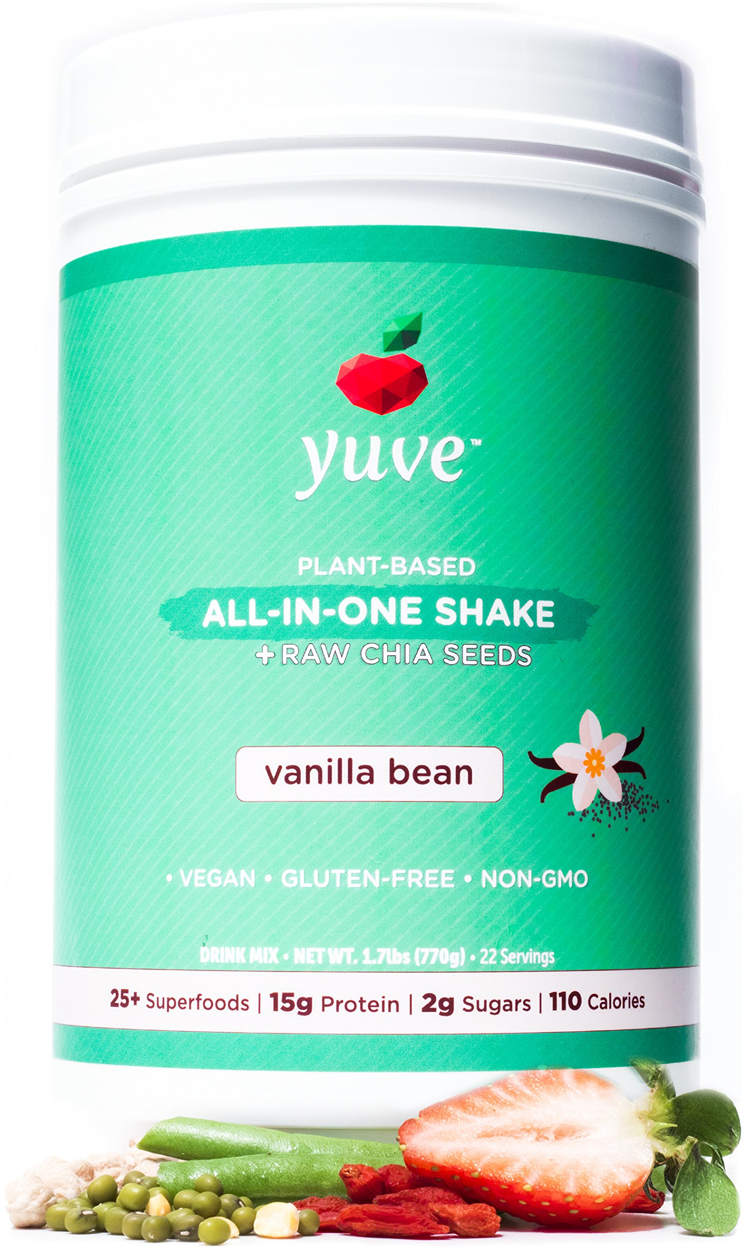 Yuve Vegan Protein Powder with Superfoods - Award Winning Taste - Complete Nutritional Shake - Natural Greens, Plant Based, Non-GMO, Gluten, Dairy, Soy and Lactose Free - Large Tub (Vanilla) by Yuve
