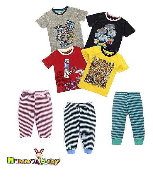 da8b24c1b NammaBaby Kids Half Sleeves T-Shirt And Rib Pant Lounge Pants Pack ...