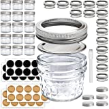 Mini Mason Jars 4 oz - Small Glass Jar with Lids - 15 Pack with Labels - Clear Glass Container for your overnight oats…
