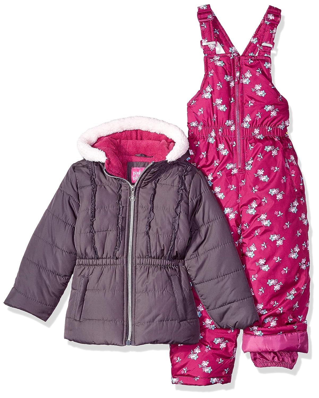 Pink Platinum Girls Floral Print Snowsuit
