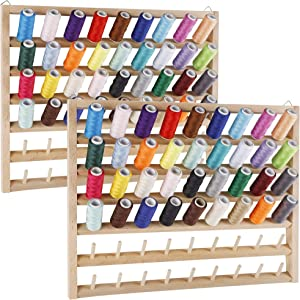 SAND MINE 2 Pack 54-Spool Thread Rack, Wall-Mounted Thread Holder, Wooden Thread Holder Organizer for Sewing, Embroidery, Jewelry