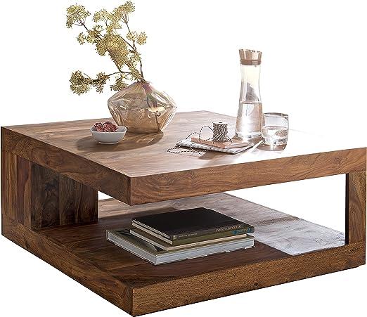 Wohnling mesa baja madera de Sheesham, anchura 90 cm mesa de salón ...