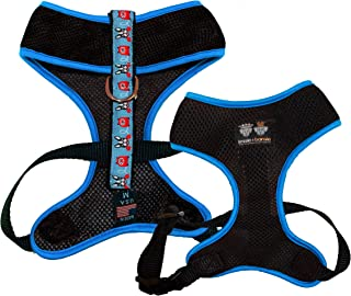product image for BESSIE AND BARNIE Air Comfort Harness for Pets, Black/Doggie Dials/Turquoise