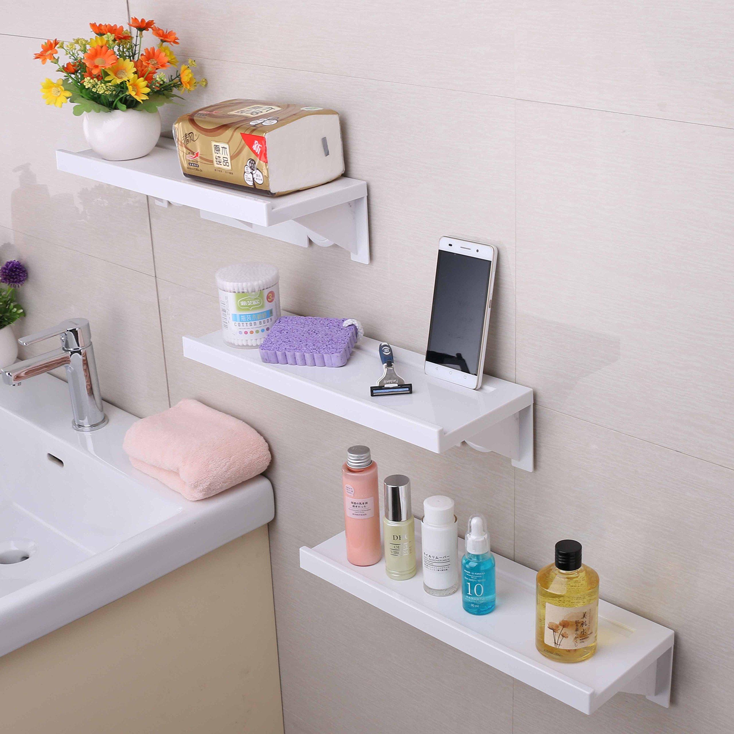Easy & Eco Life Suction Cup Floating Shelf Bathroom Shower Rack ...