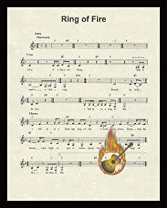 Ring of Fire Music Sheet Artwork Print Picture Home Office Bedroom Nursery Kitchen Wall Decor - unframed