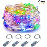 Micro LED String Lights Battery Powered ITART Set of 4 Multi Color Mini String Light 20 LEDs / 6ft (2m) Ultra Thin Silver Wire Rope Lights for Halloween Trees Wedding Parties Bedroom