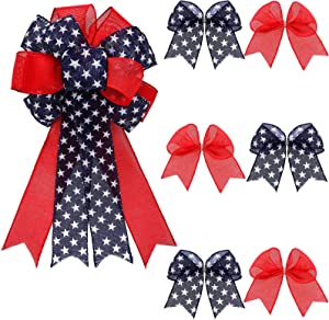 Yougulu Patriotic Wreath Bow Independence Day Red White and Blue Star Burlap Topper Bows Large with 6 Pieces Mini Bows Ornaments Wreath Bow Door Wall Decoration for 4th of July, Veteran's Day Party