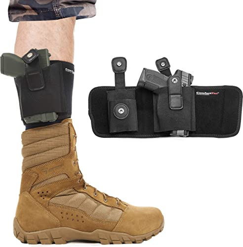 ComfortTac Ultimate Ankle Holster for Concealed Carry Compatible with Glock 42, 43, 36, 26, Smith and Wesson Bodyguard .380.38, Ruger LCP, LC9, Sig Sauer,...