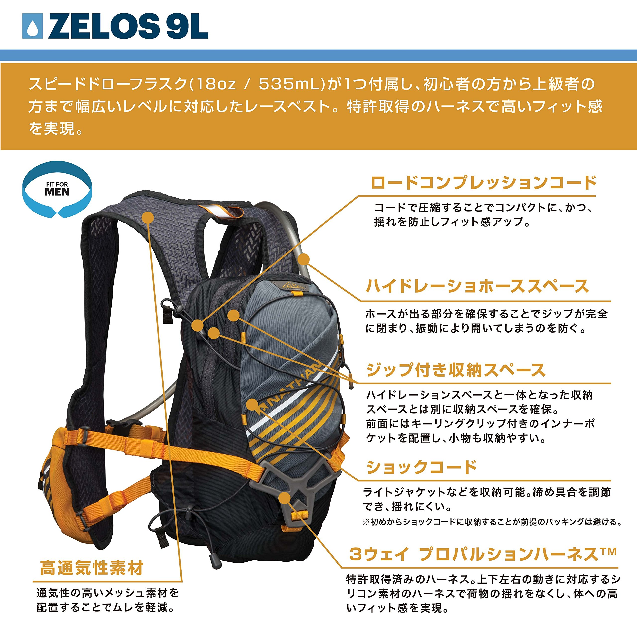 Nathan Zelos 2-Liter Hydration Vest, Nathan Grey, One Size by Nathan (Image #3)