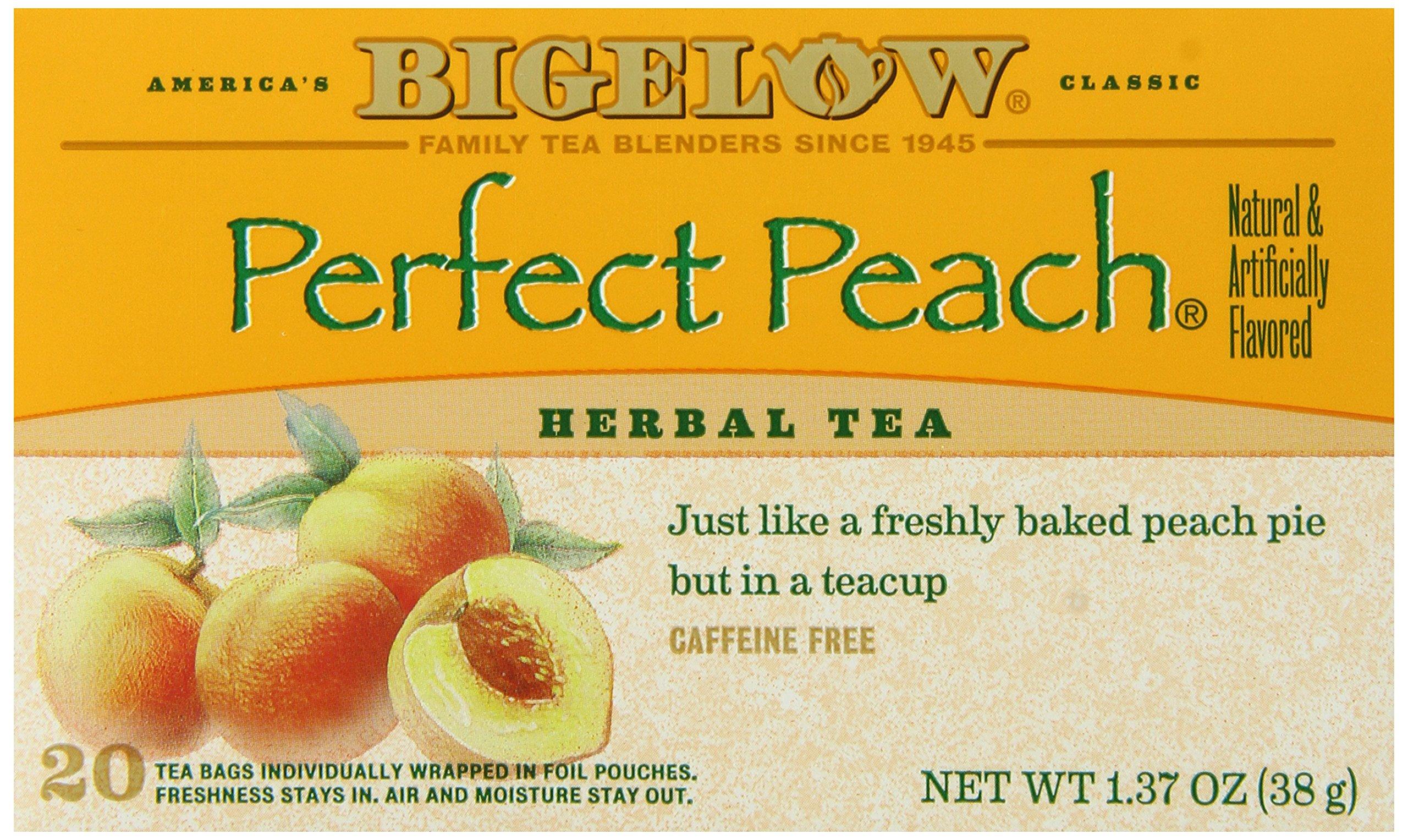 Bigelow herbal tea - Bigelow Perfect Peach Herbal Tea 20 Count Boxes Pack Of 6