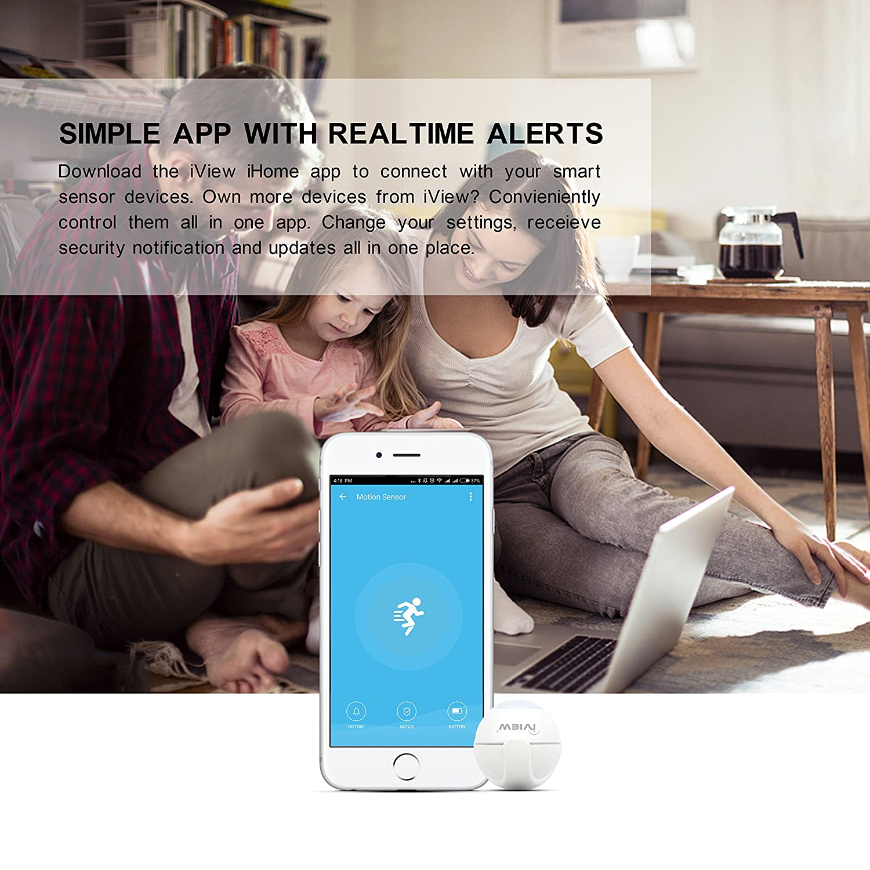 Smart Motion Sensor Indoor Outdoor Adjustable Sensibility DIY Easy Installation Long Lasting Battery 2.4G only iView S200 WiFi