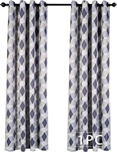 MYSKY HOME 3D Geometry Fashion Design Print Thermal Insulated Blackout Curtain with Grommet Top for Bedroom, 52 by 95 inch, Blue - 1 Panel
