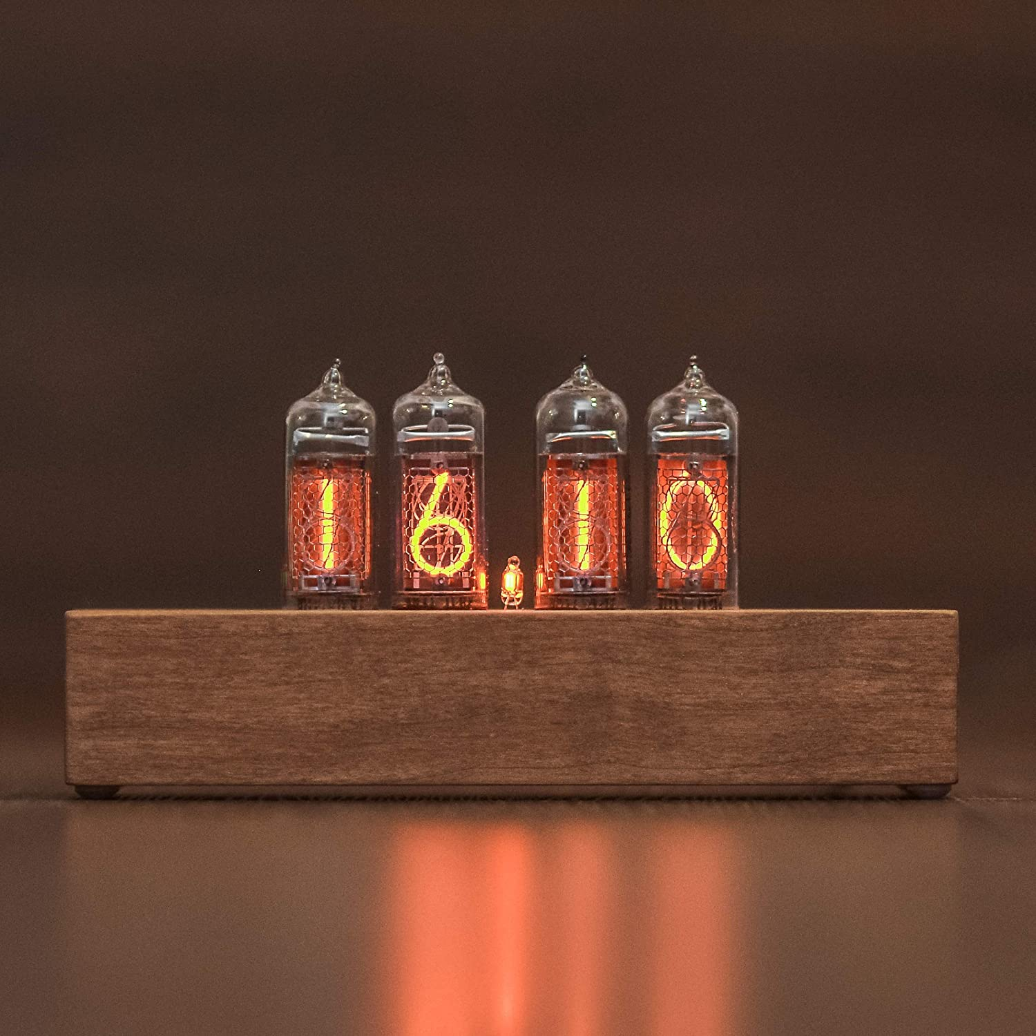Nixie Tube Clock 4x IN-14 Nixie Clock Vintage Retro Desk Clock Fully Assembled and Tested Wooden Alder Case Gift for Him Christmas Holiday