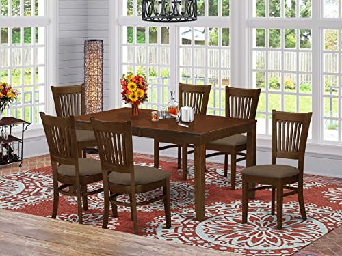 LYVA7-ESP-C 7 Pc Dining Table with a 12 Leaf and 6 Linen Cushion Kitchen Chairs