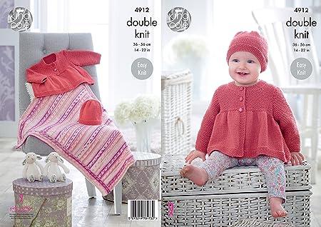 King Cole 4912 Knitting Pattern Baby Easy Knit Jacket Hat Blanket