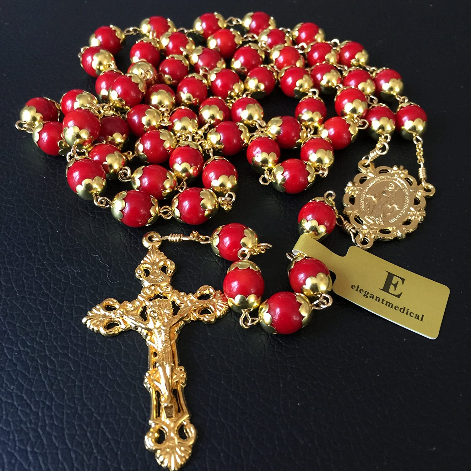 elegantmedical Handmade GOLG Red Coral Beads Catholic 5 Decade Rosary Necklace Cross Womens GIFTS