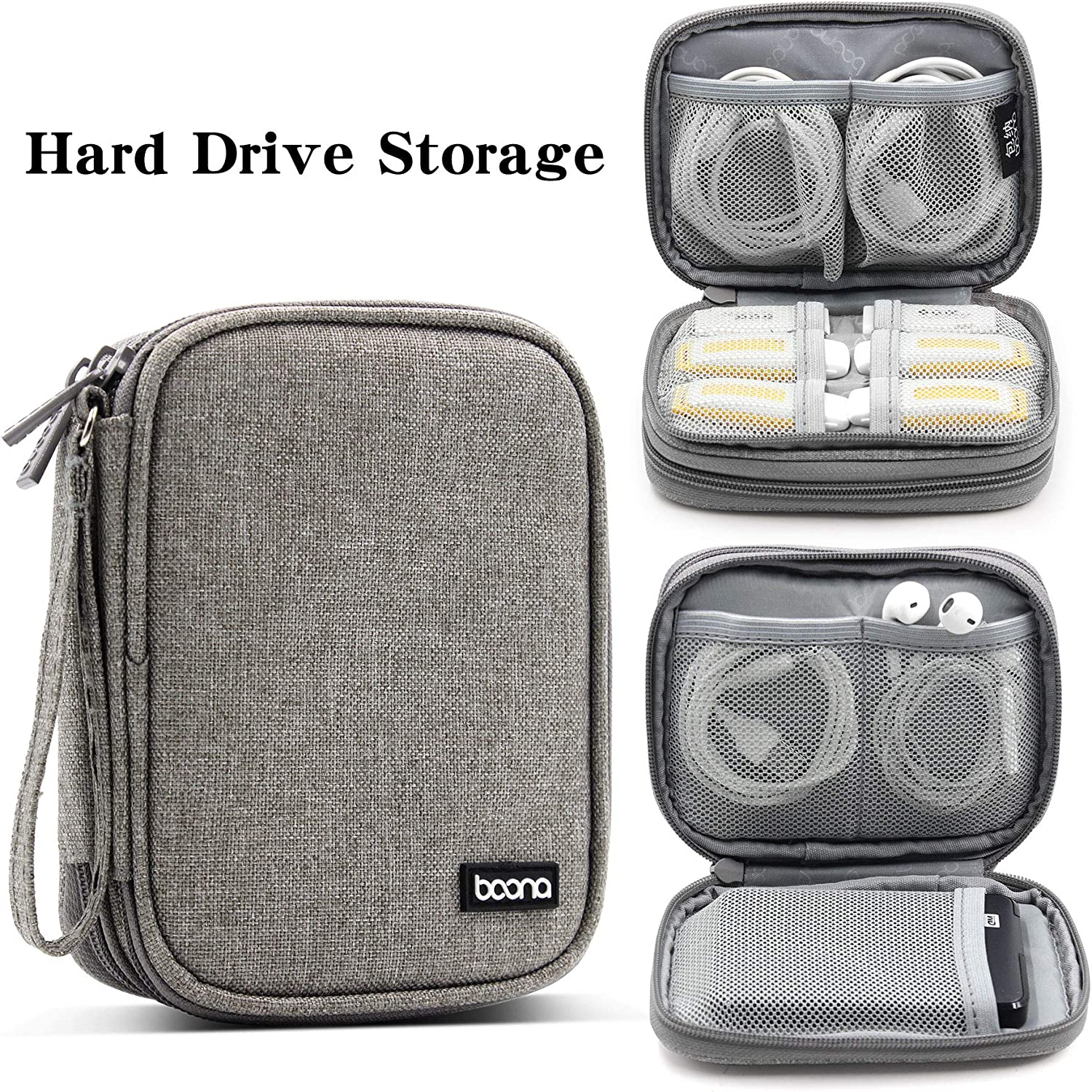 Grey, 6.9 x 4.1 x 1.7 Shockproof Hard Drive Carrying Case for WD My Passport BOONA Hard EVA Travel Case