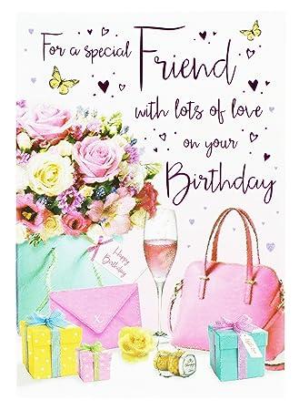 Happy Birthday Greeting Card For Friend Hallmark Girly Modern Verse Her Glitter