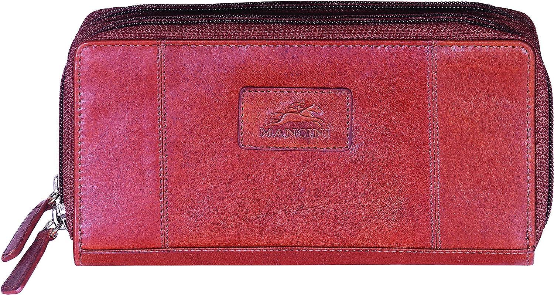 Ladies/' RFID Double Zipper Clutch Mancini Leather Goods Casablanca Collection